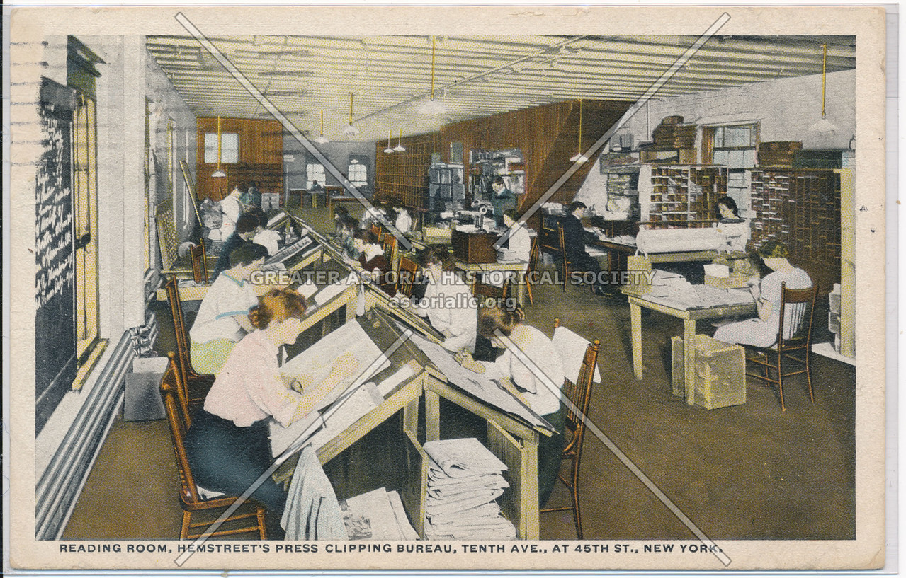 Reading Room, Hemstreet's Press Clipping Bureau, Tenth Ave., At 45th St., New York