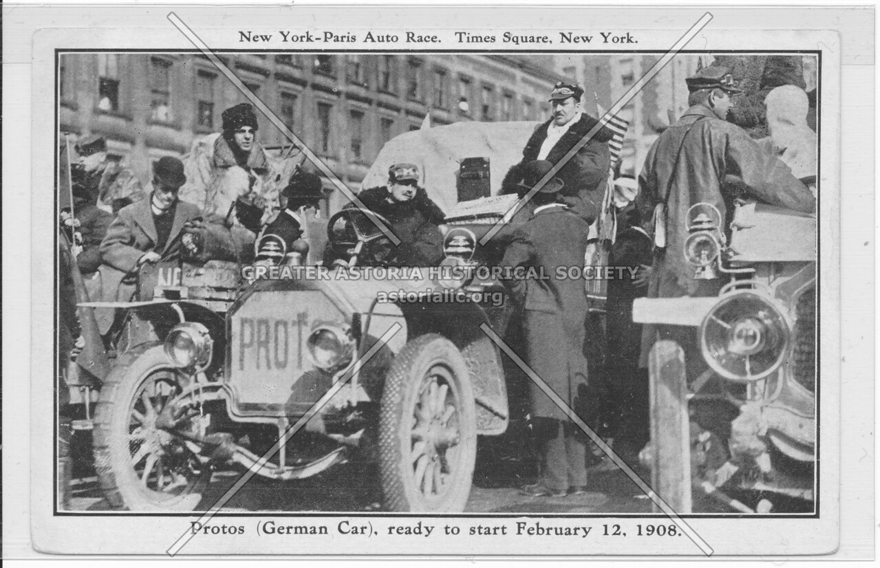 New York-Paris Auto Race, Times Square, New York, Protos (German Car)