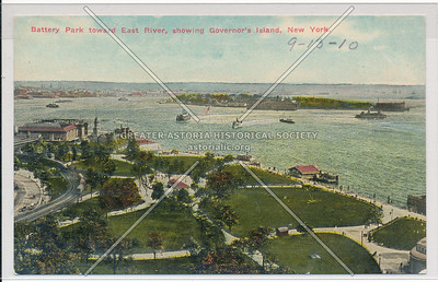 Battery Park toward East River, showing Governor's Island, New York