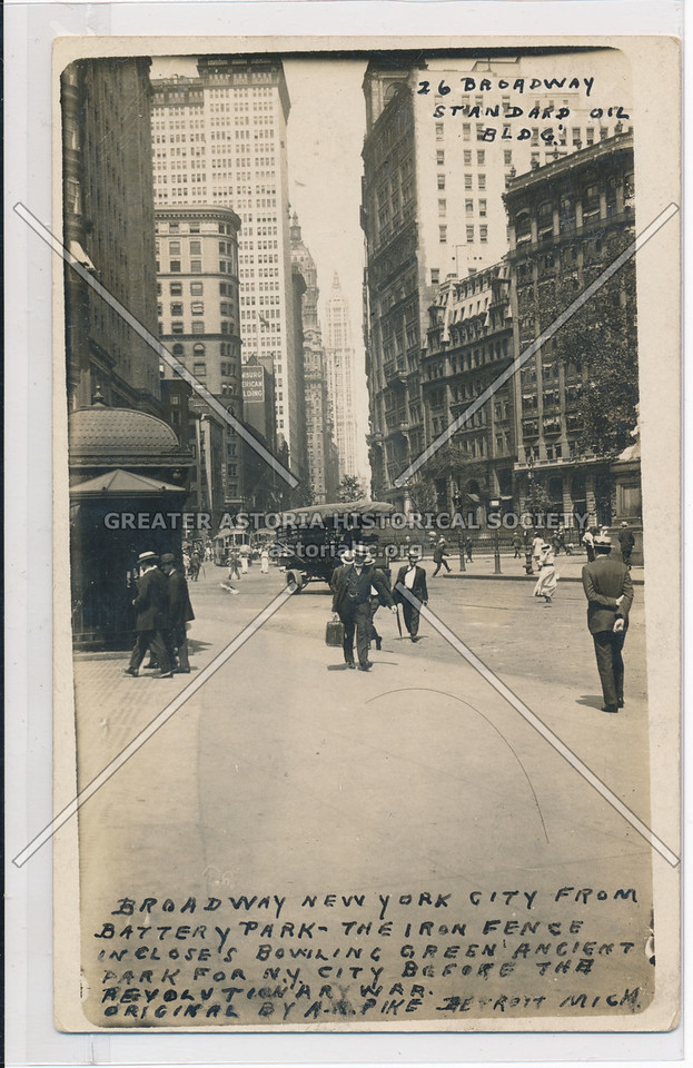 Broadway New York City From Battery Park- The Iron Fence Incloses Bowling Green Ancient Park…