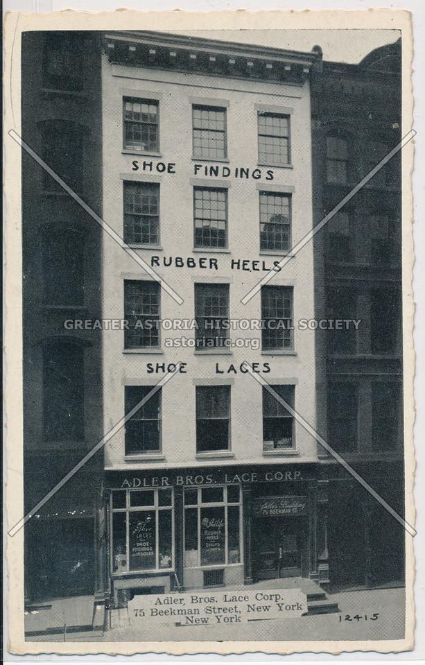 Adler Bros Lace, 75 Beekman Street
