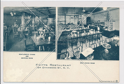 Fritts Restaurant, 124 Chambers St., N.Y., Gentleman's Dining and Smoking Room AND Main Dining Room