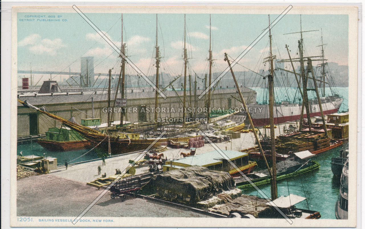 Sailing Vessels At Dock, New York
