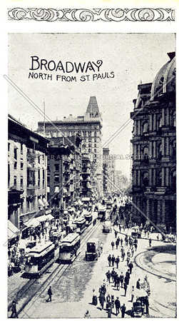 Souvenir of New York City: Broadway, North From St. Pauls