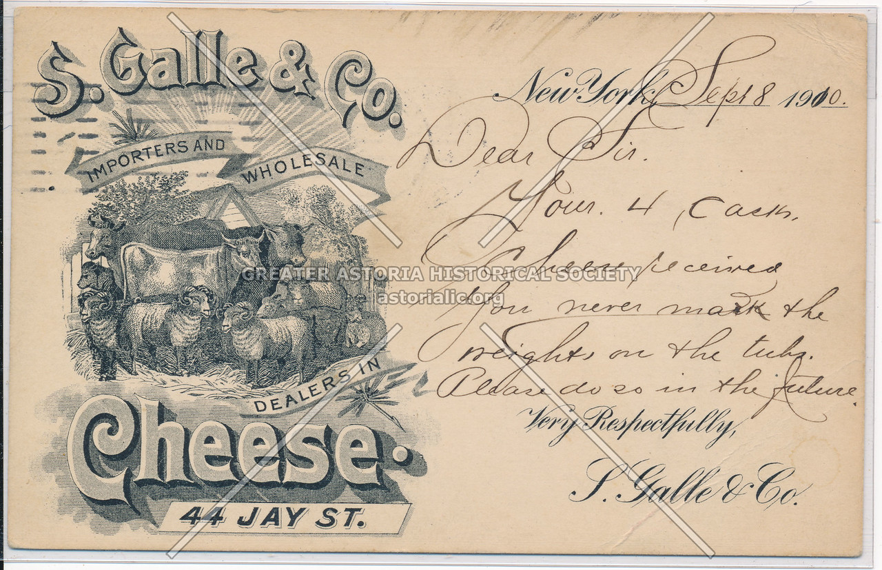 S. Galle & Co. Importers And Wholesale Dealers In Cheese 44 Jay St.