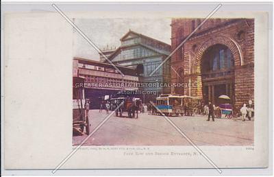 Park Row And Bridge Entrance, N.Y.