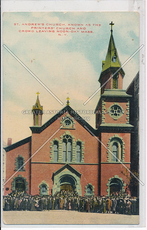 St. Andrew's Church, Known As The Printers' Church And Crowd Leaving Noon-Day Mass, N.Y.