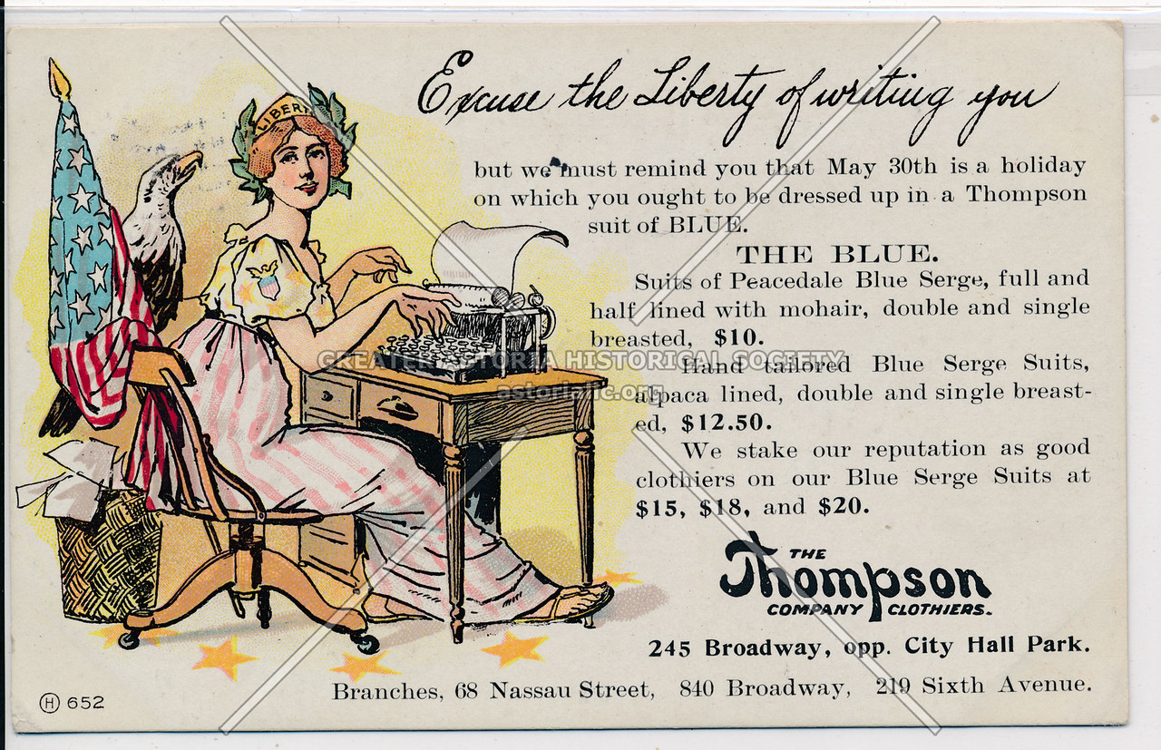 The Thompson Company Clothiers, 245 Broadway, opp. City Hall Park.