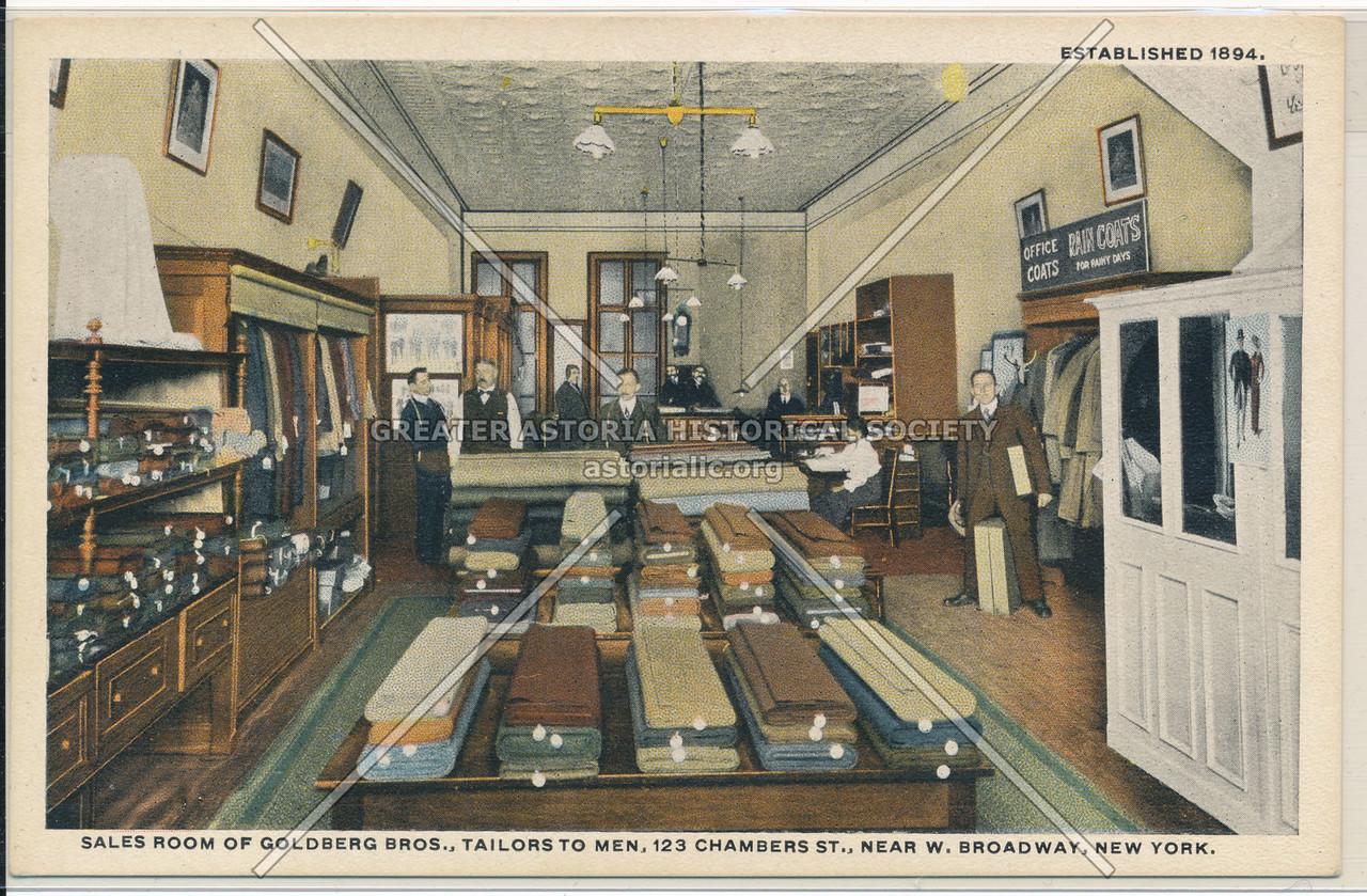 Sales Room Of Goldberg Bros., Tailors To Men, 123 Chambers St., Near W. Broadway, New York.