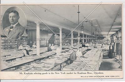 Mr. Kaufman selecting goods in the New York market for Kaufman Bros., Aberdeen.