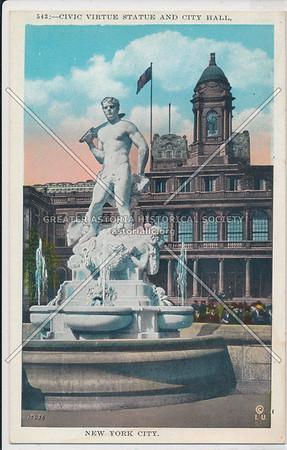 Civic Virtue Statue and City Hall, New York