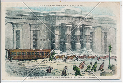 Harlem R.R. Train Being Drawn Past The Old Tombs