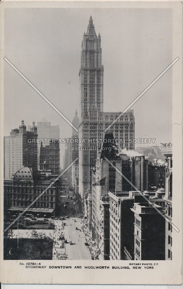 Broadway Downtown And Woolworth Building, New York