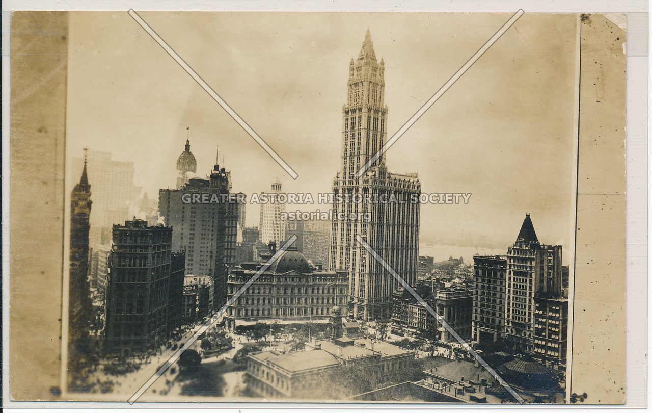 View of City Hall, old Post Office, Woolworth Bldg