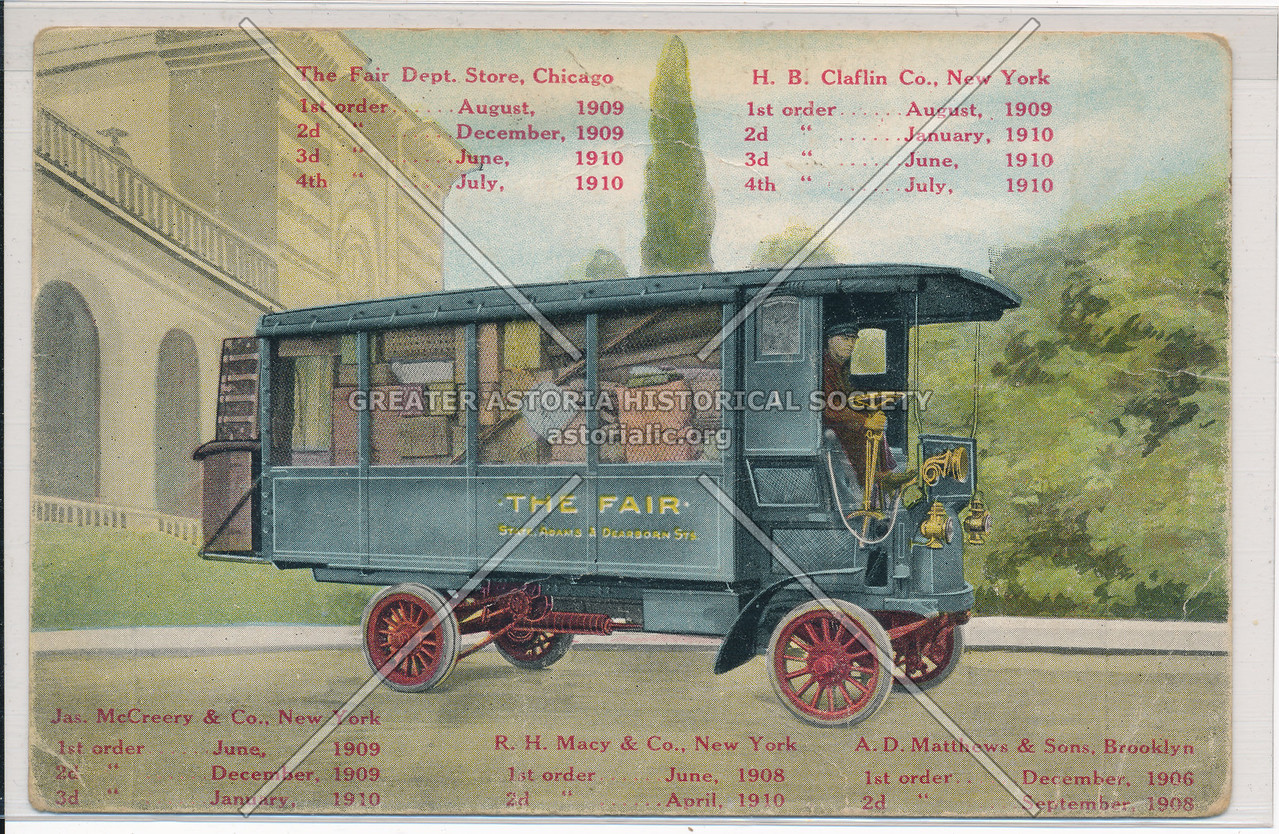 The Fair Dept. Store, Chicago, H.B. Claflin Co., New York, etc