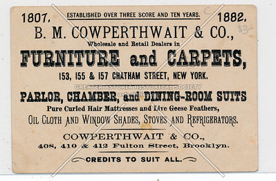 B.M. Cowperthwait & Co., Wholesale and Retail Dealers in Furniture and Carpets