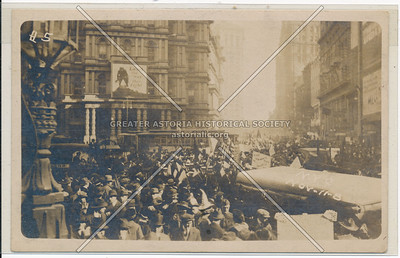 NY, Manhattan, Real Photo Of WWI Rally in front of old P.O.