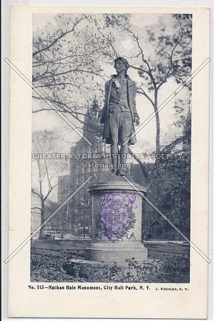 Nathan Hale Monument, City Hall Park, N.Y.
