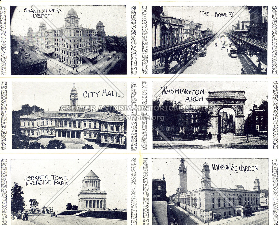 Souvenir of New York City: Inside; 6 small images: Grand Central Depot, The Bowery, City Hall, Washington Arch, Grant's Tomb Riverside Park, Madison Sq. Garden