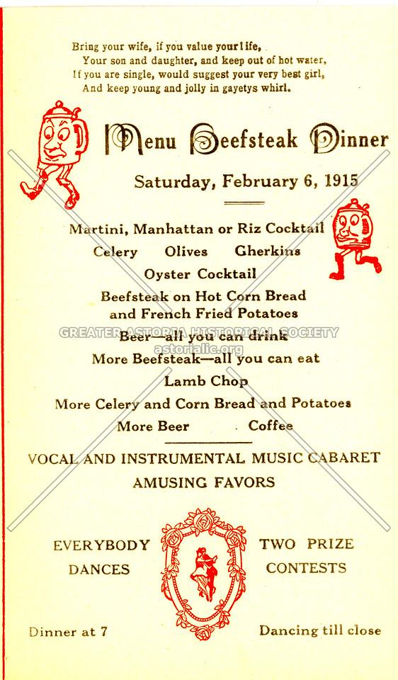 Menu Beefsteak Dinner, Saturday, February 6, 1915