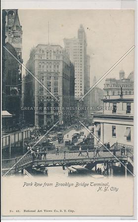 Park Row from Brooklyn Bridge Terminal, N.Y. City