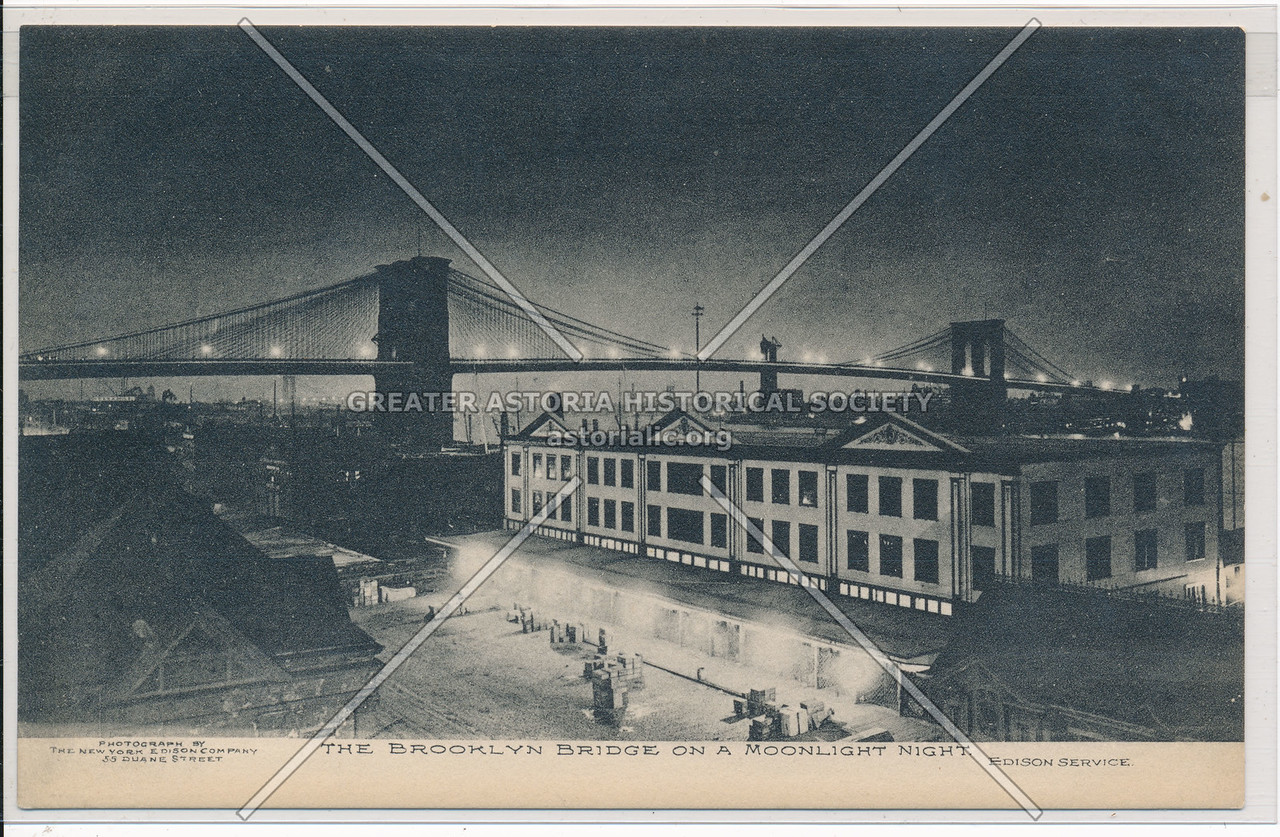 The Brooklyn Bridge On A Moonlight Night