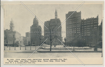 City Hall And Printing House Square- City Hall, World Bldg., Sun Bldg., Tribune Bldg., Times Bldg, Potter Bldg.