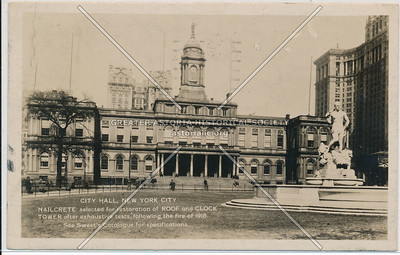 City Hall, New York City, Nailcrete selected for restoration of Roof and Clock Tower
