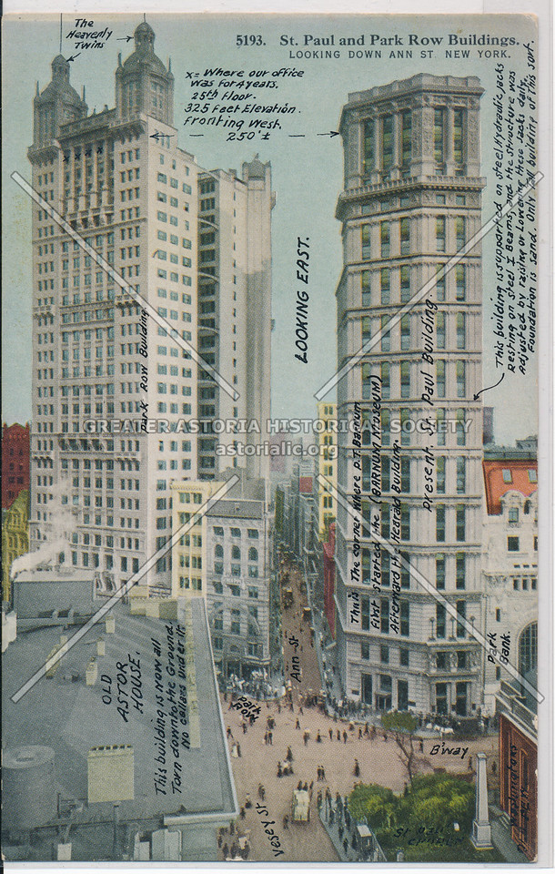 St. Paul and Park Row Buildings, looking Down Ann St., New York