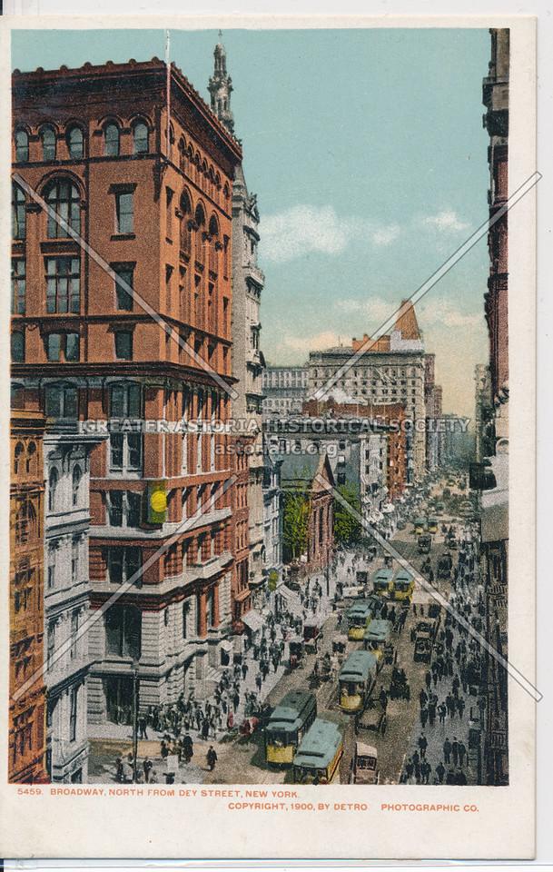 Broadway, North From Dey Street, New York