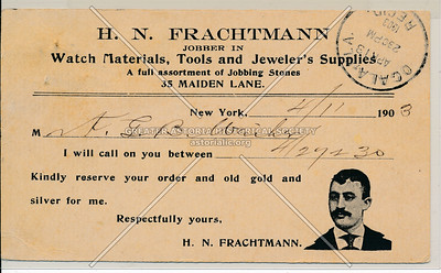 H N Frachtman /Jewelers Supplies, 35 Maiden Lane, NY