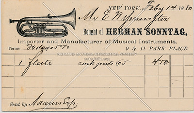 Herman Sonntag Musical Instruments, 9 & 11 Park Place, NY