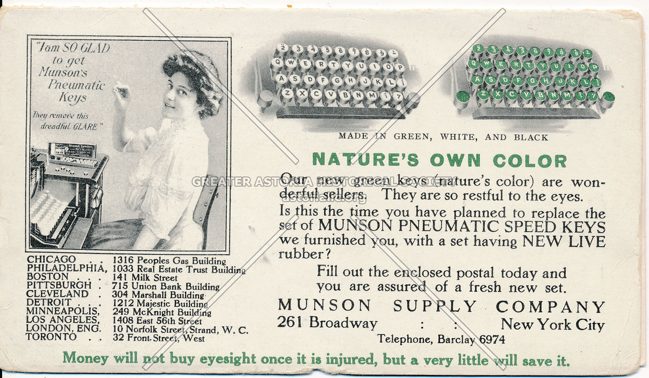 Munson Supply co, 261 B'way, NY