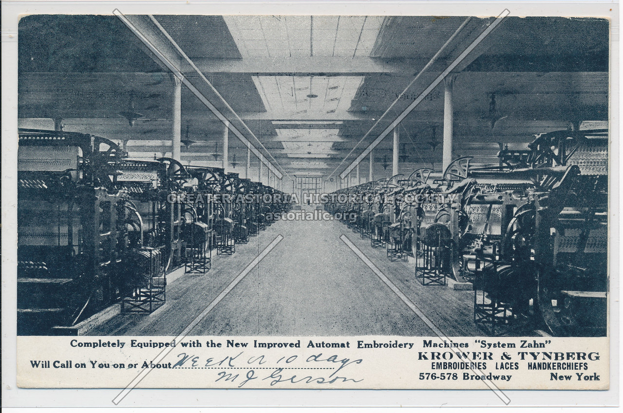 Krower & Tynberg Embroideries, 576 B'way, NY (Swiss Factory pictures)