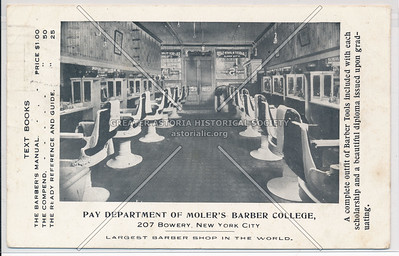 Moler's Barber College, 207 Bowery, New York City