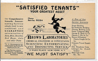 Brown Laboratories, Exterminators, 11 Park Pl, NY