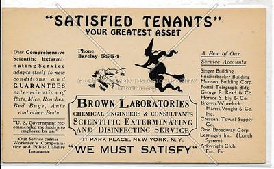 Brown Laboratories, Exterminators, 11 Park Pl, NY