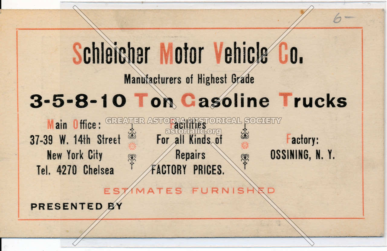 Schleicher Motor Vehicle Co. 37 W 14 St, NY