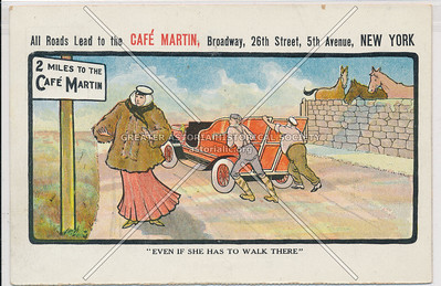 """""""Even if She Has to Walk There"""" - All Roads Lead to Café Martins, 26 St & 5 Av, NY"""