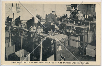 Two Men Controlling Fagoting Machines in Miss Swank's Modern Factory