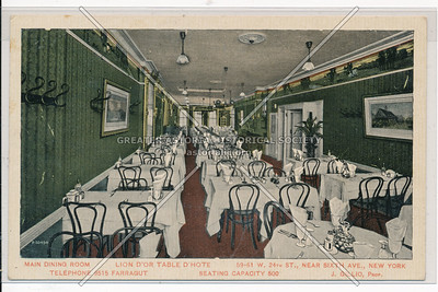 Main Dining Room - Lion D'or Table D'Hote,  59 W 24 St, NY