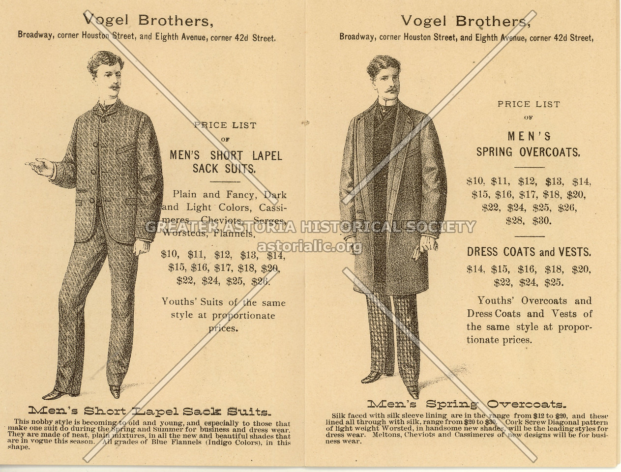 Vogel Brothers, 606 B'way (Houston)  & 651 8th Ave (42nd St), NYC