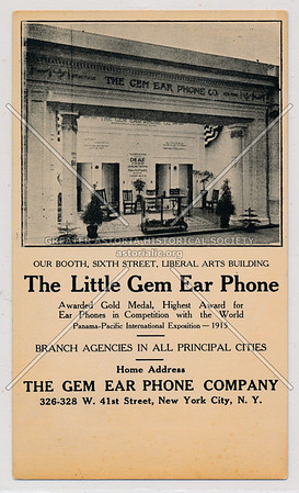 Gem Ear Phone Co, Liberal Arts Building, 326 W 41 St, NYC