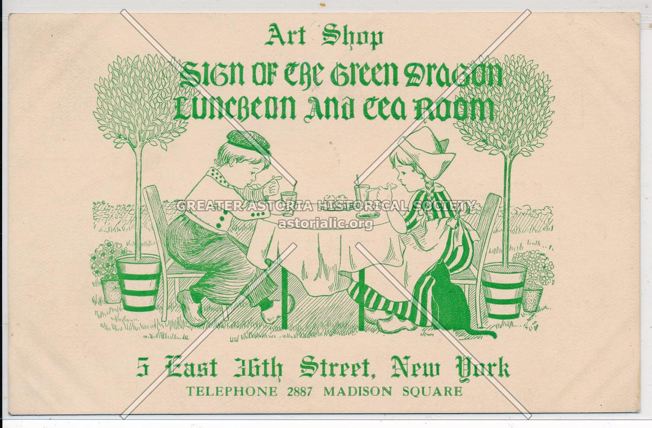 Sign of the Green Dragon Tea Room Art Shop, 5 E 36 St, NYC