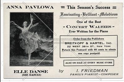 Anna Pavlowa Card, Breitkopf & Hartel, 22 W 38th St, NYC