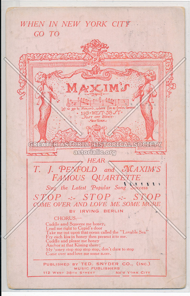 Maxim's / Irving Berlin, Ten Snyder Music, 112 W 38 St, NYC