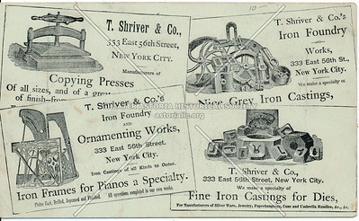 T Shriver & Co, Metal Casting, 333 E 56 St, NYC