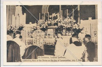 Cardinal Spellman celebrating Mass July 7, 1946