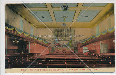 Interior, First Swedish Baptist Church, 141 E 55 St, NYC