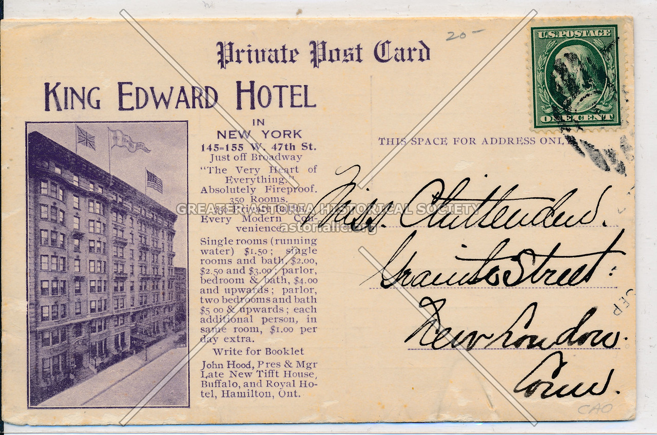 King Edward Hotel, 145 W 47 St, NYC